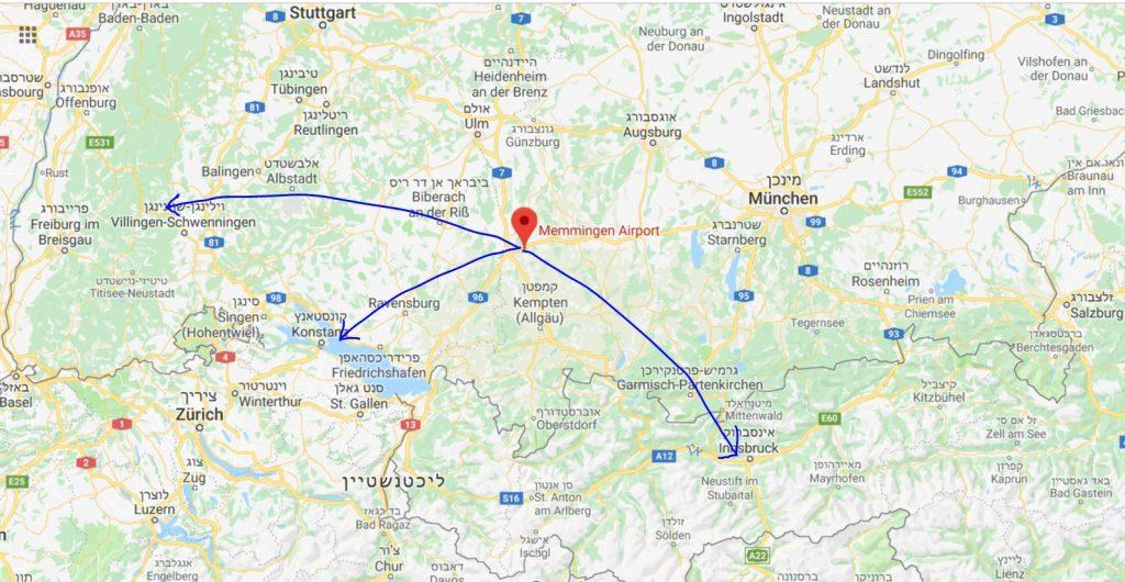 מיקום שדה התעופה ממינגן ביחס לטירול